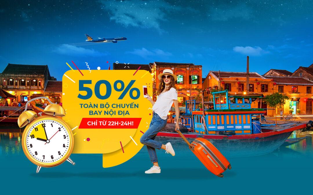 [Vietnam Airlines] Mid-night Sales 50% TOÀN BỘ nội địa